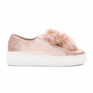 Steve Madden Breeze Fur Rose Gold Sneakers NWOT
